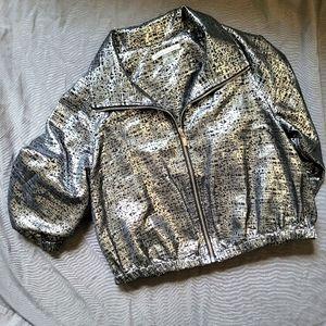 Peter Nygård   Metallic Silver Cropped Jacket SmP